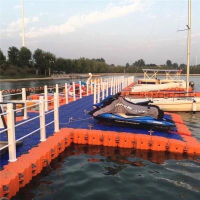 水上浮桥观光平台 塑料浮筒钓鱼平台 水上浮岛浮桥护栏